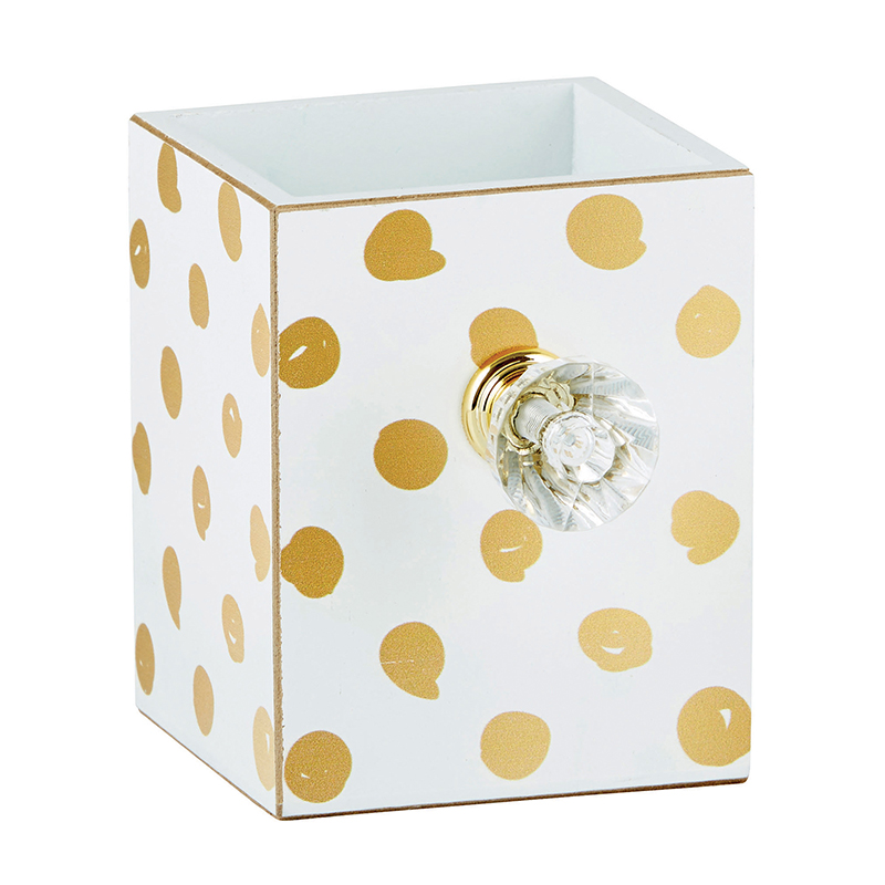 Empty Pen Holder - Gold Dot