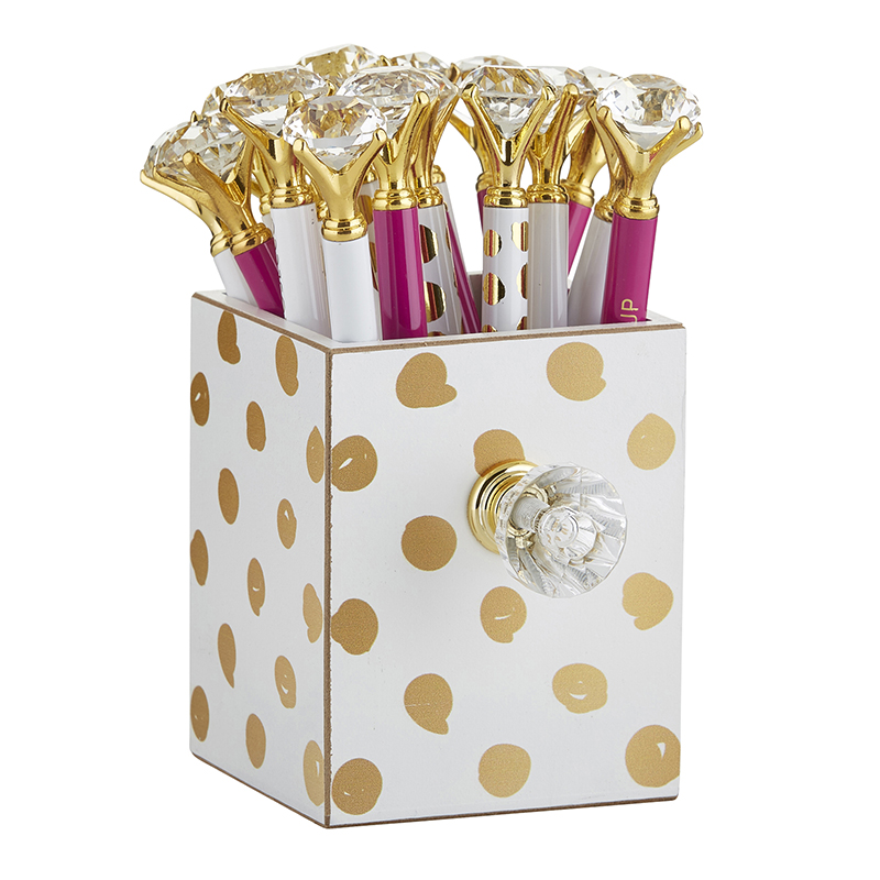 Assorted Gem Pens in Gold Dot Holder
