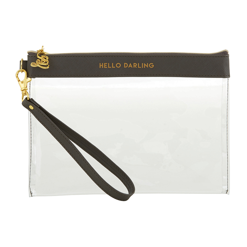 Clear Wristlets - Hello Darling - Charcoal