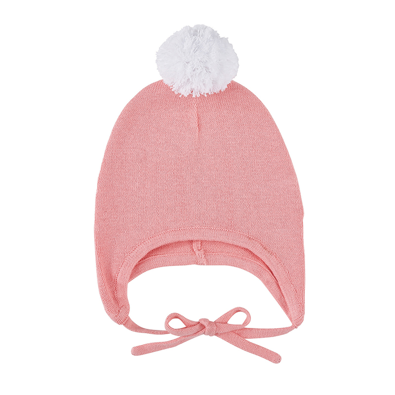 Knit Bonnet - White/Pink, 6-12 months