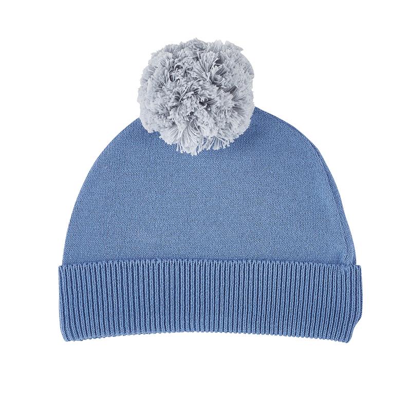 Knit Hat - Grey/Blue, 6-12 months