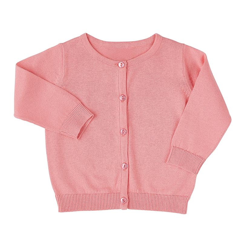 Knit Cardigan - Pink - Crewneck