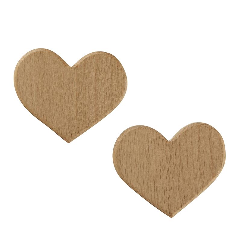 Wood Hooks - Heart 2 Pack