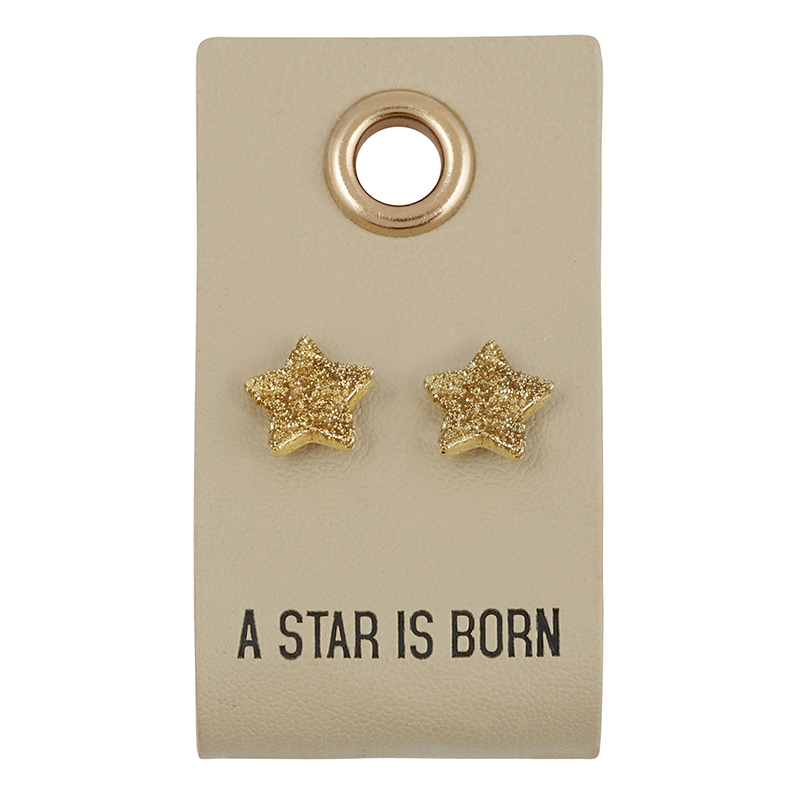 Leather Tag  Earrings - Star