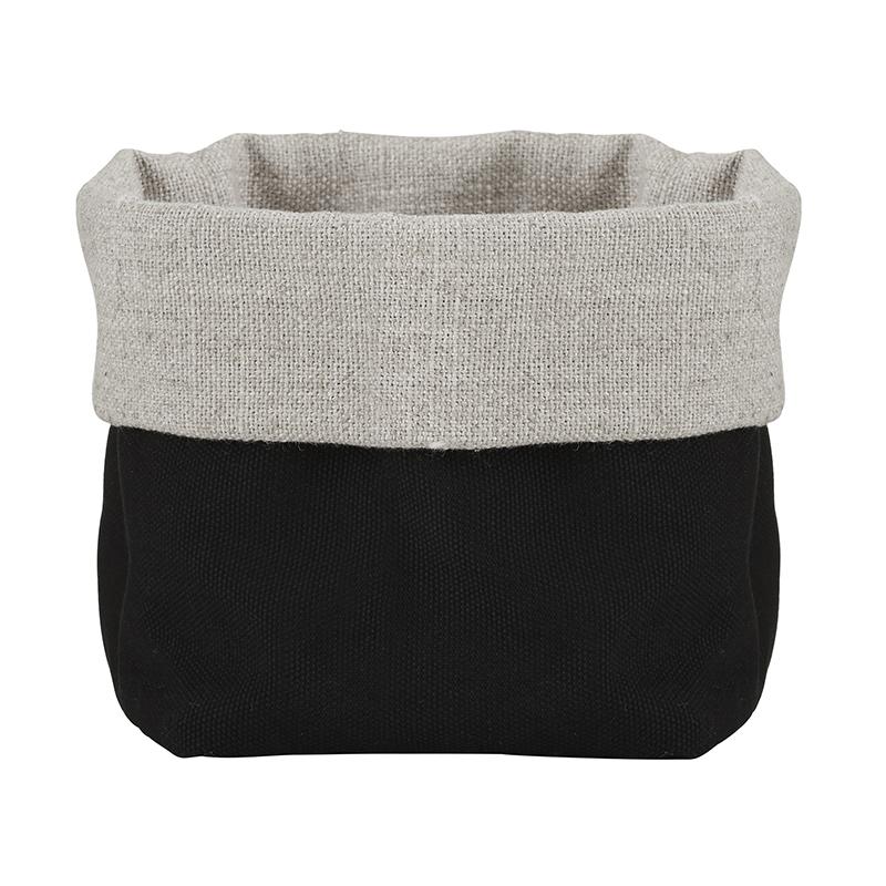 Linen Bread Pouch - Grey/Black