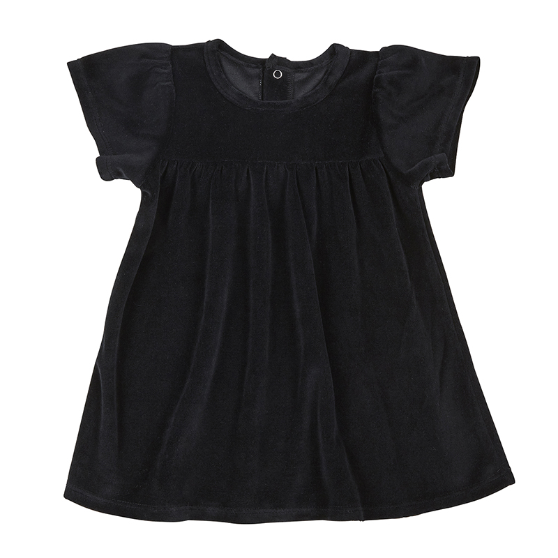 Velour Dress - Black, 6-12 months