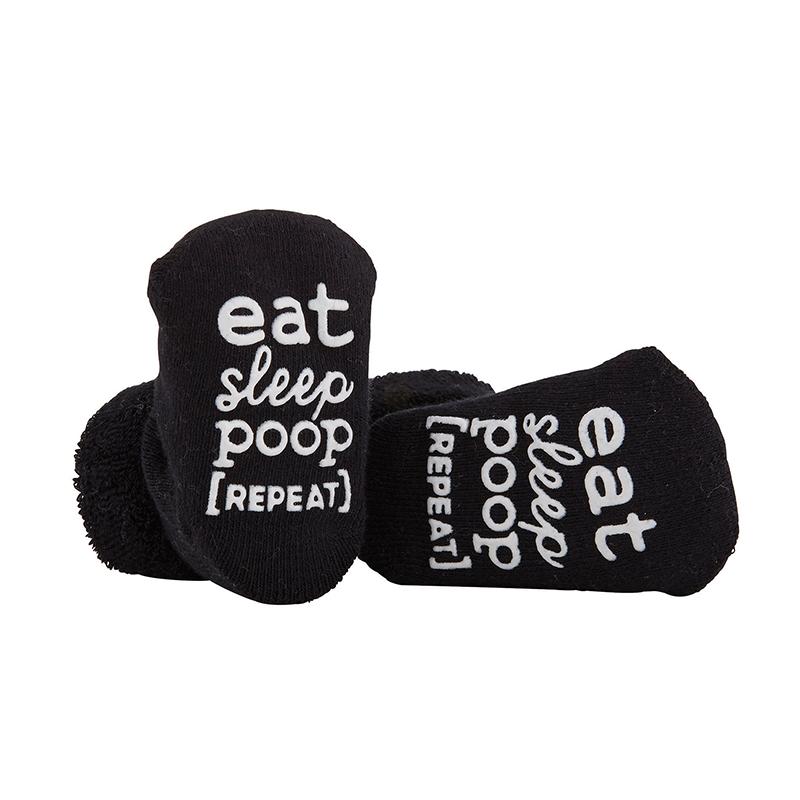 Socks - Eat, Sleep, Poop, Repeat - Black, 3-12 months