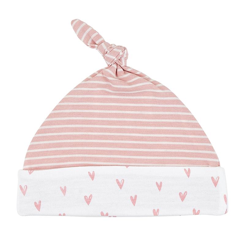 Knit Hat - Pink Heart Stripe