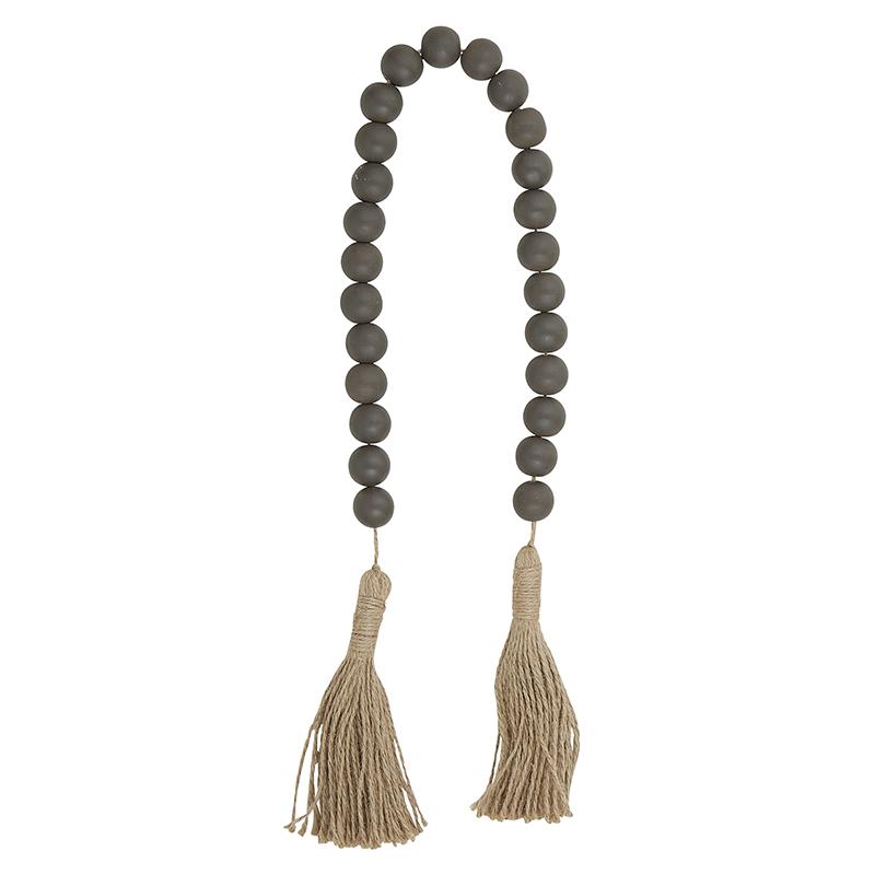 Wood Beads - Dark Charcoal with Jute