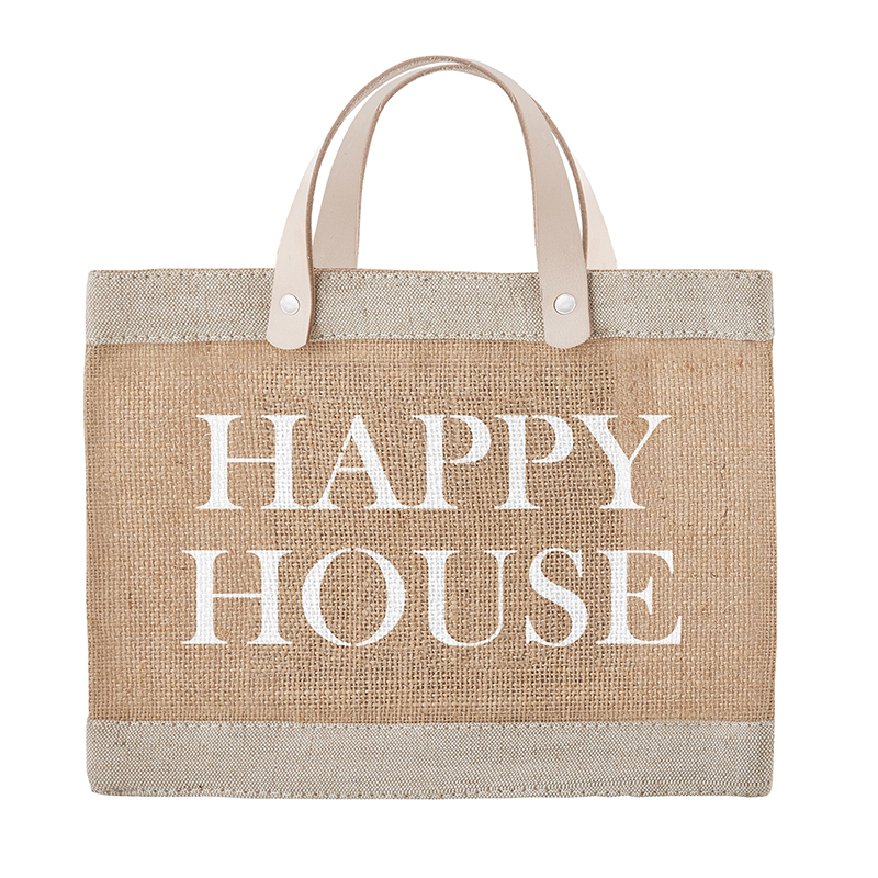 Face to Face Jute Tote - Happy House