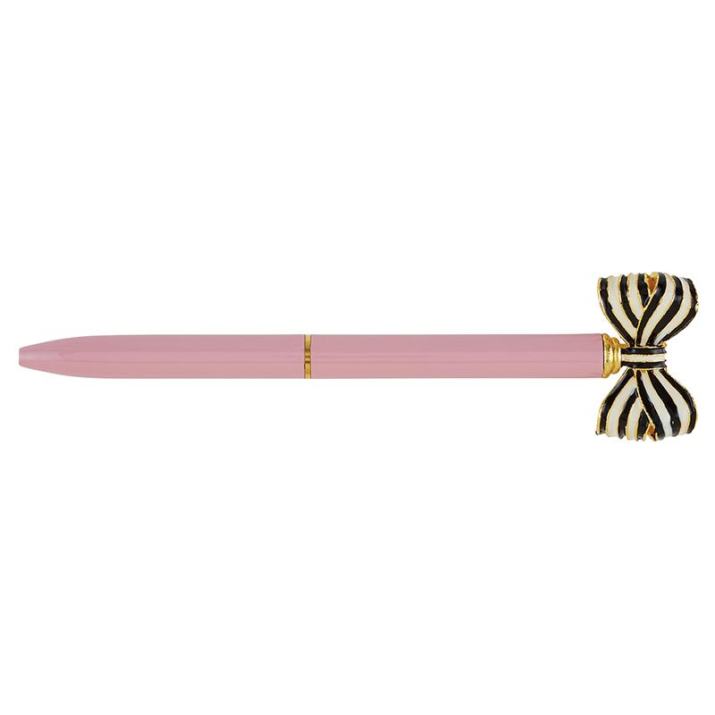 Striped Bow Pen - Dusty Rose