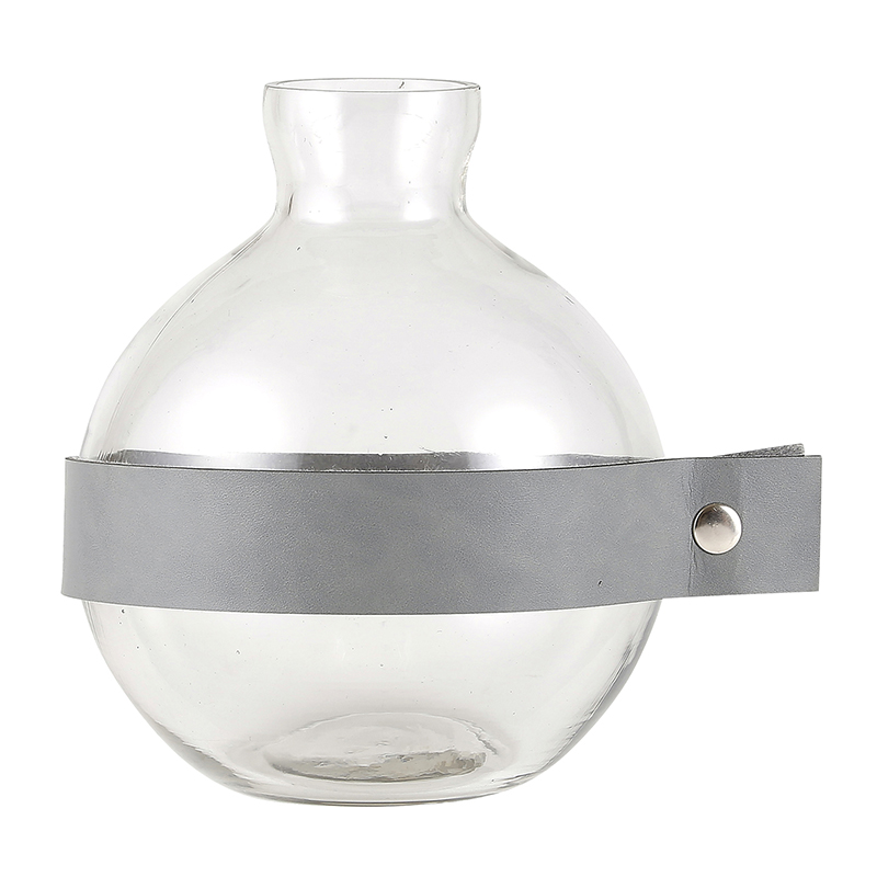 Round Glass + Leather Vase