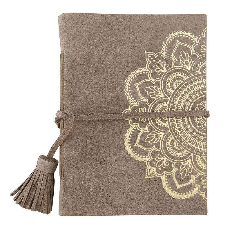 Suede Leather Notebook - Mandala