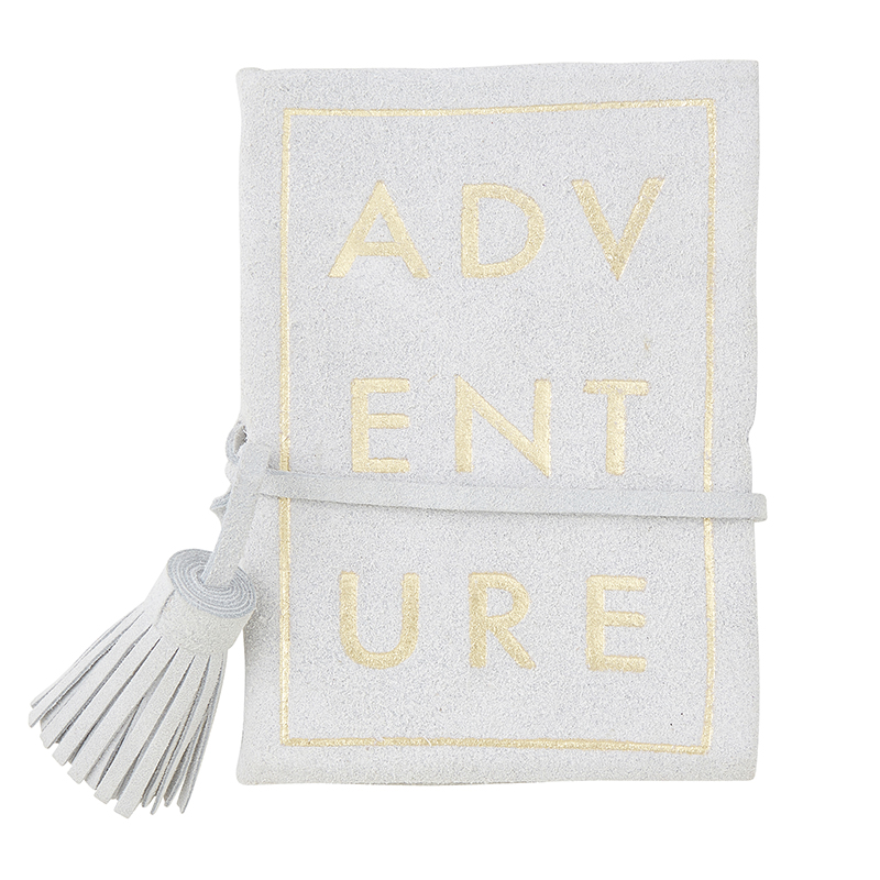Suede Leather Notebook - Grey Adventure