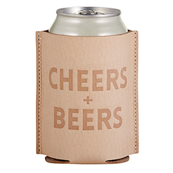 Leather Coozie - Cheers + Beers