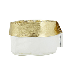 Washable Paper Holder - Mini - White/Gold