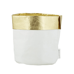 Washable Paper Holder - Medium - White/Gold