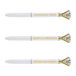 Gem Pens - White with Words