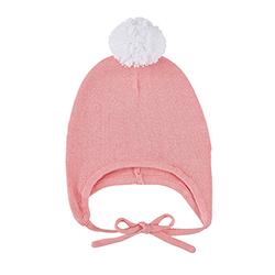 Knit Bonnet - White/Pink, 6-12 months