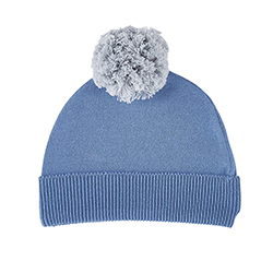 Knit Hat - Grey/Blue, 6-12 months