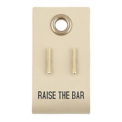 Leather Tag  Earrings - Bar
