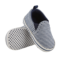 Shoes - Navy Stripe Canvas, 6-12 months