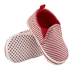Shoes - Red Stripe Canvas, 6-12 months