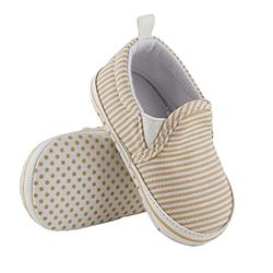 Shoes - Khaki Stripe Canvas, 6-12 months