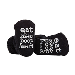 Socks - Eat, Sleep, Poop, Repeat - Black, 3-12 months