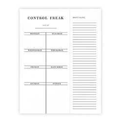 Face to Face Weekly List Pad - Control Freak