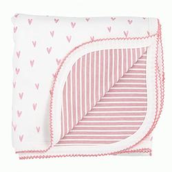Reversible Blanket - Pink Heart Stripe