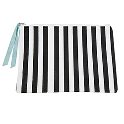 Canvas Pouch - Black + White Stripe