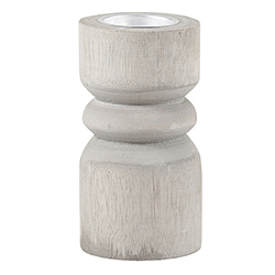 Medium Candle Holder - Grey Wood with Silver Plate