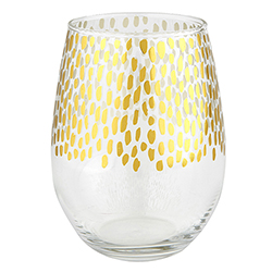 Gold + Clear Stemless Glass