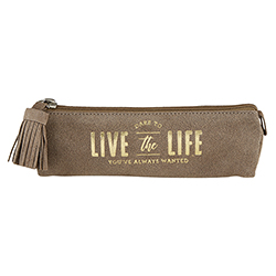 Suede Leather Pouch - Life