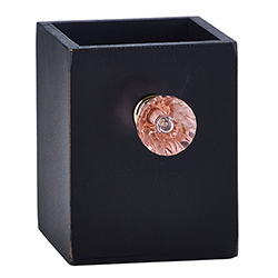 Black Pen Holder with Pink Crystal Knob