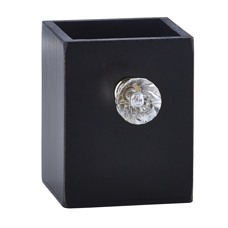 Black Pen Holder with Clear Crystal Knob