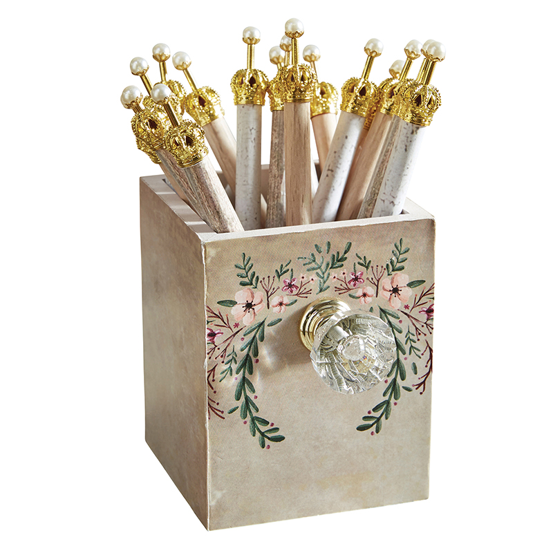 Assorted Crown Pens in Farmhouse Holder