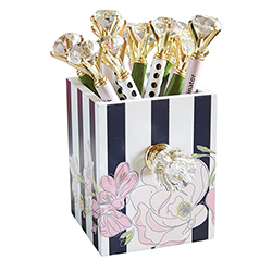 Assorted Gem Pens in Floral Holder
