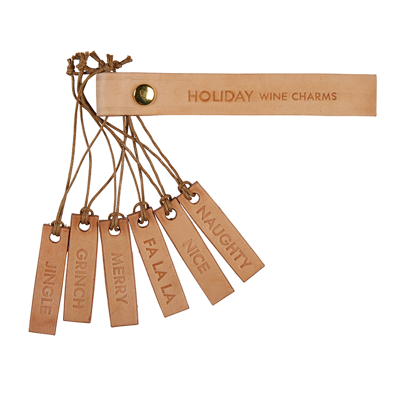 Leather Wine Charms - Holiday Set