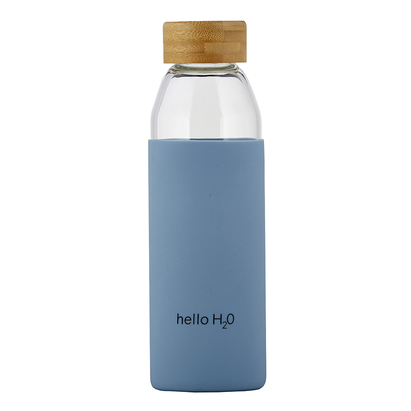 Water Bottle w/ Bamboo Lid - Hello H2O