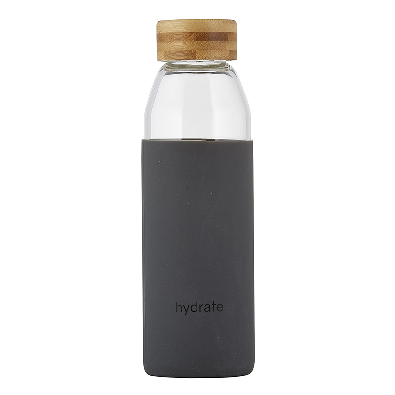 Water Bottle w/ Bamboo Lid - Hydrate