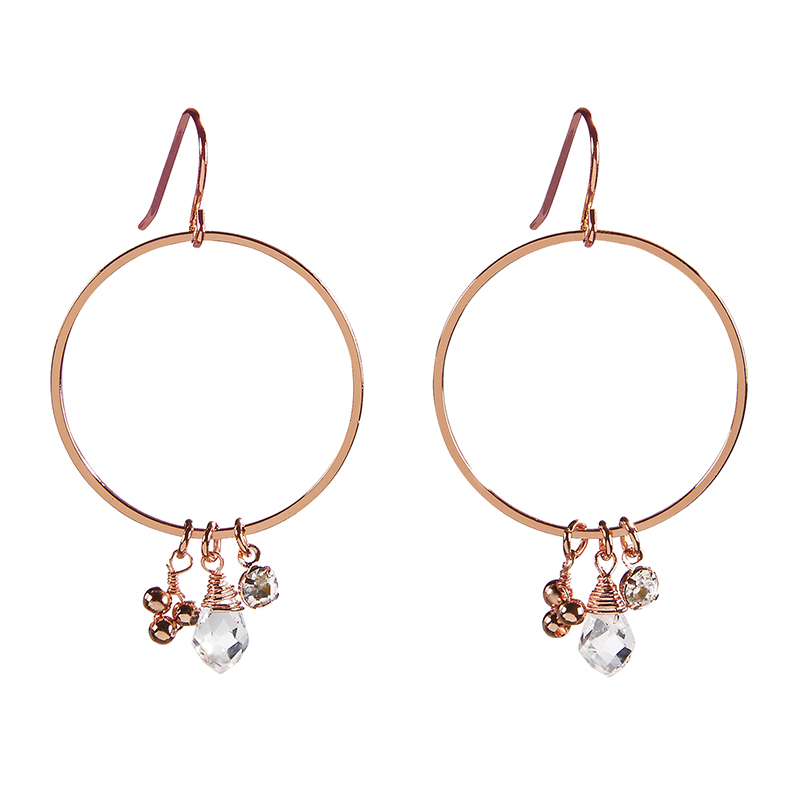Dangle Hoops - Rose Gold