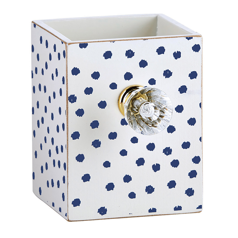 Pen Holder - Navy Polka Dot