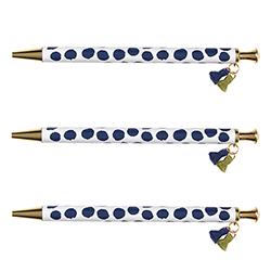Tassel Pens - Navy Polka Dot