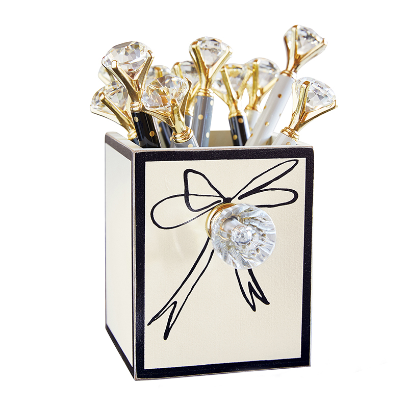 Metallic Gold Dot Gem Pens in Bow Holder