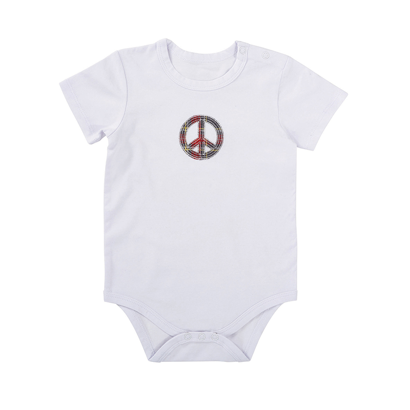 Snapshirt - White w/ Peace Sign, 6-12 months