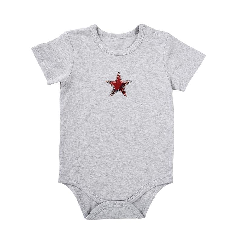 Snapshirt - Grey w/ Red Plaid Star, 6-12 months