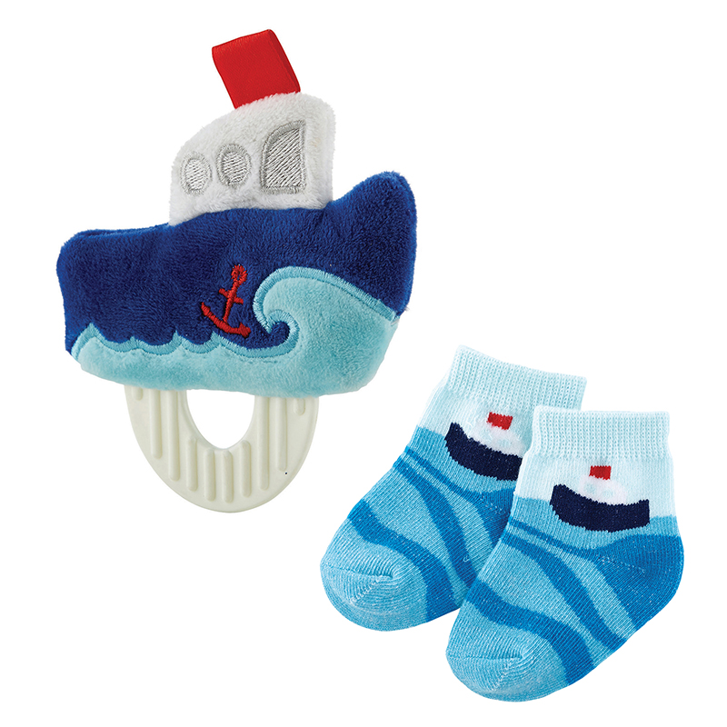 Teether Toy & Sock Set - Boat