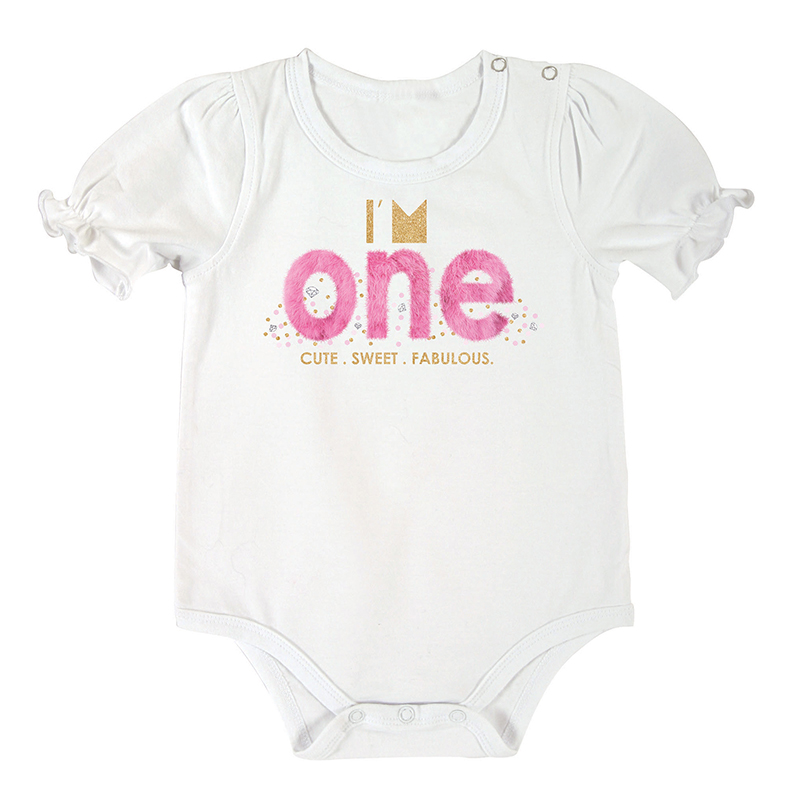 Snapshirt - Birthday ONE Pink, 6-12 months